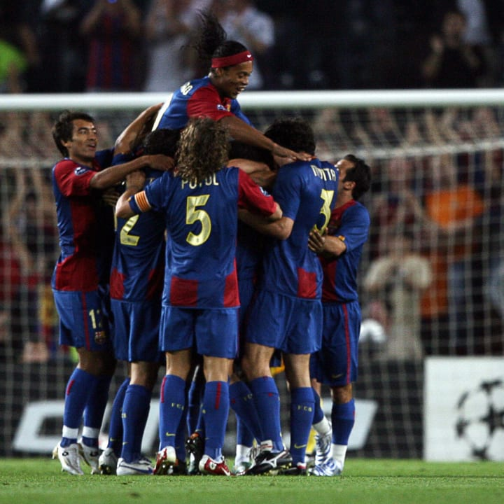 Barcelona's players celebrate after Andr