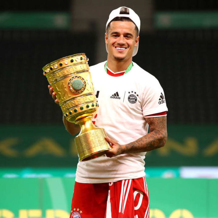 Coutinho won trophies as a bit-part player at Bayern