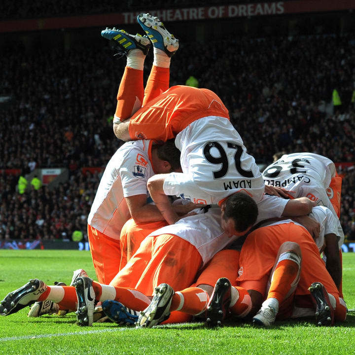 Blackpool players celebrate Gary Taylor-