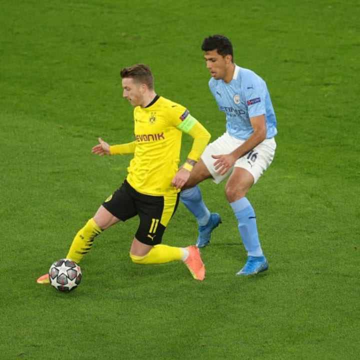 Marco Reus looks to carry the ball