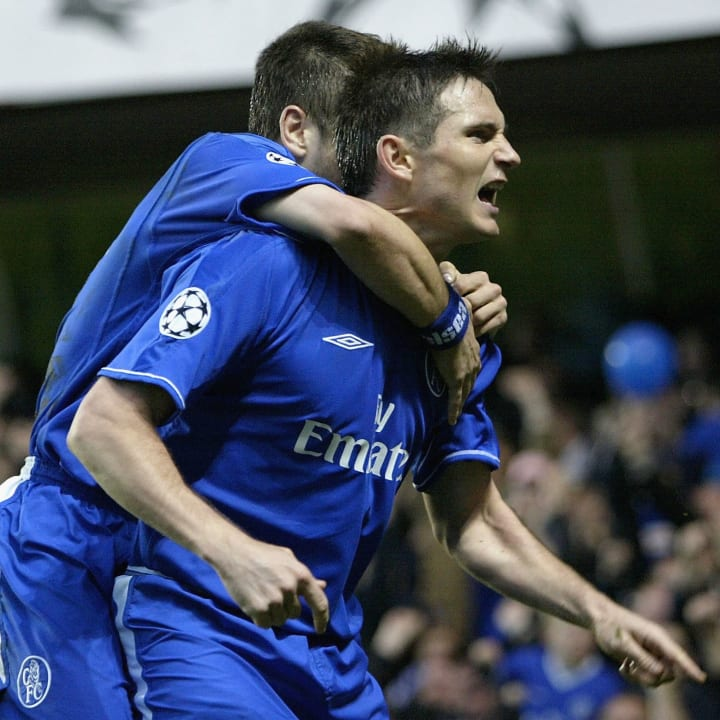 Lampard celebrates a Champions League goal against Monaco
