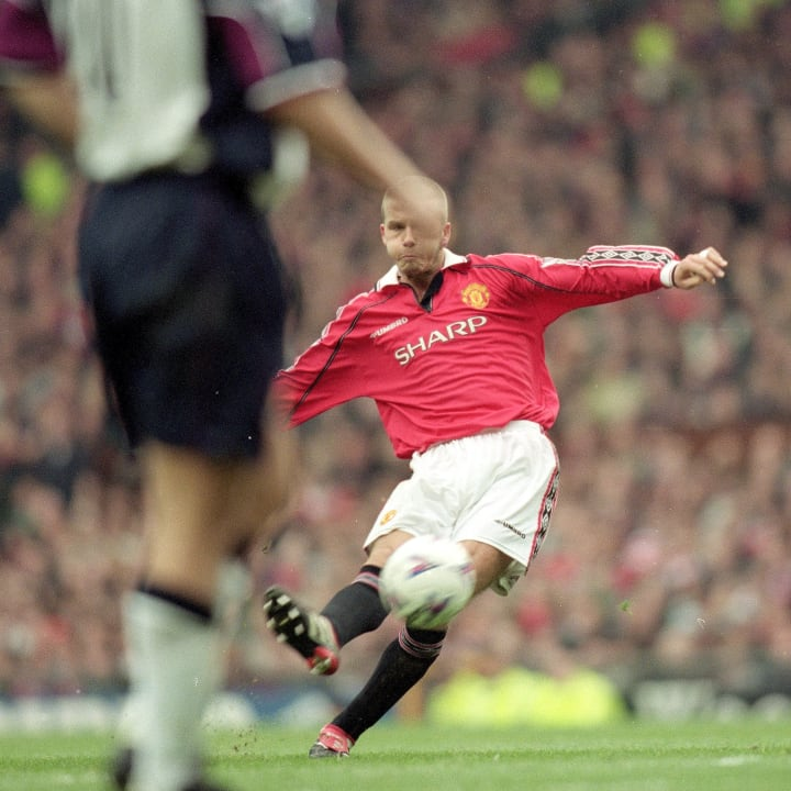 Beckham netted United's sixth against the Hammers