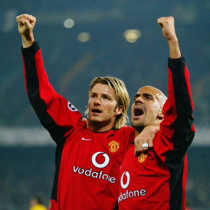 David Beckham and Juan Sebastian Veron of Manchester United celebrate the opening goal