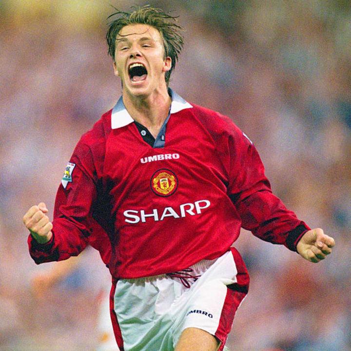 David Beckham often scored goals from midfield