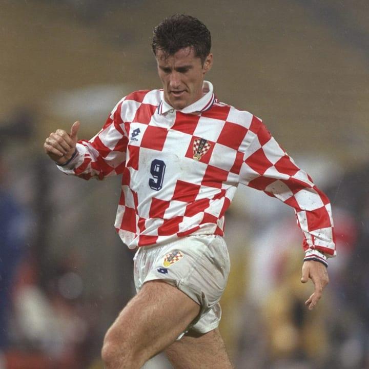 Davor Suker of Croatia in action