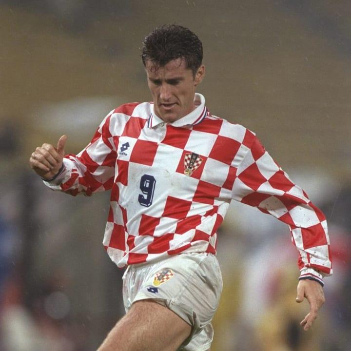 Davor Suker in Croatia's iconic checkerboard shirt