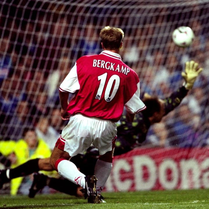 Dennis Bergkamp scored his iconic Leicester hat-trick in 1997/98