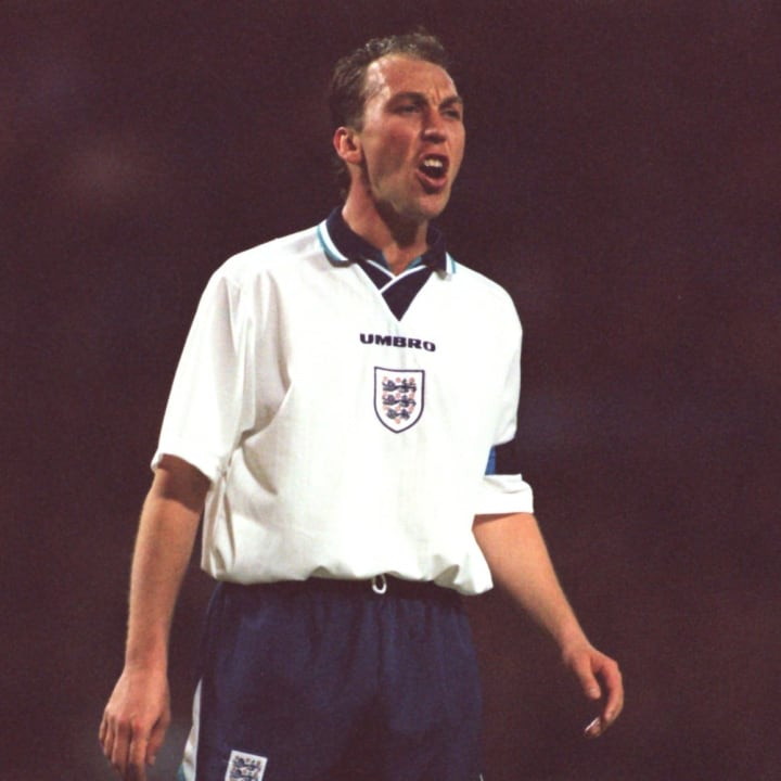 David Platt playing for England prior to Euro 96