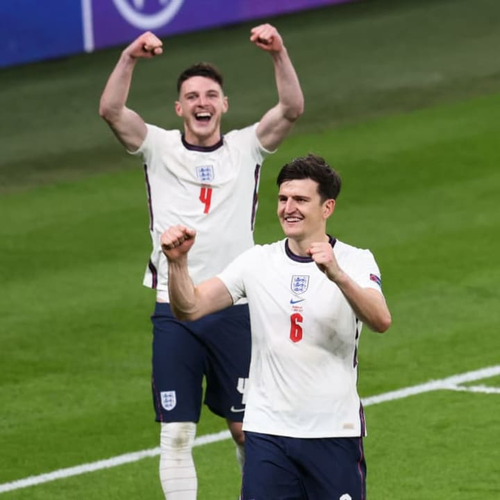 Harry Maguire and Declan Rice celebrate