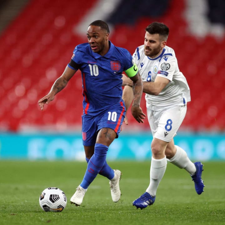 Raheem Sterling captained England in Harry Kane's absence