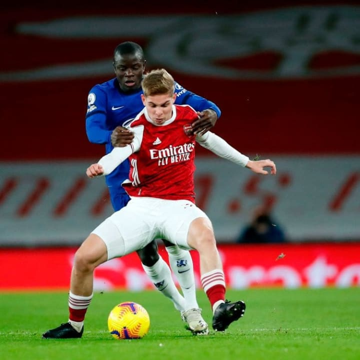N'Golo Kante battles with Emile Smith Rowe