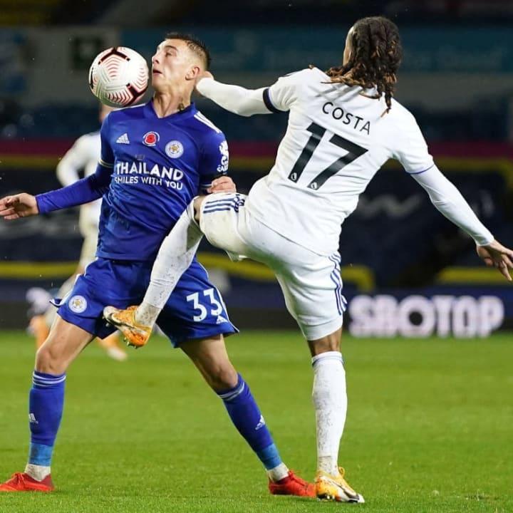 Luke Thomas chests the ball down