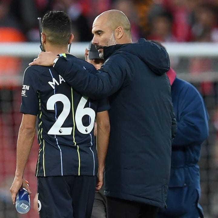 Mahrez with manager Guardiola