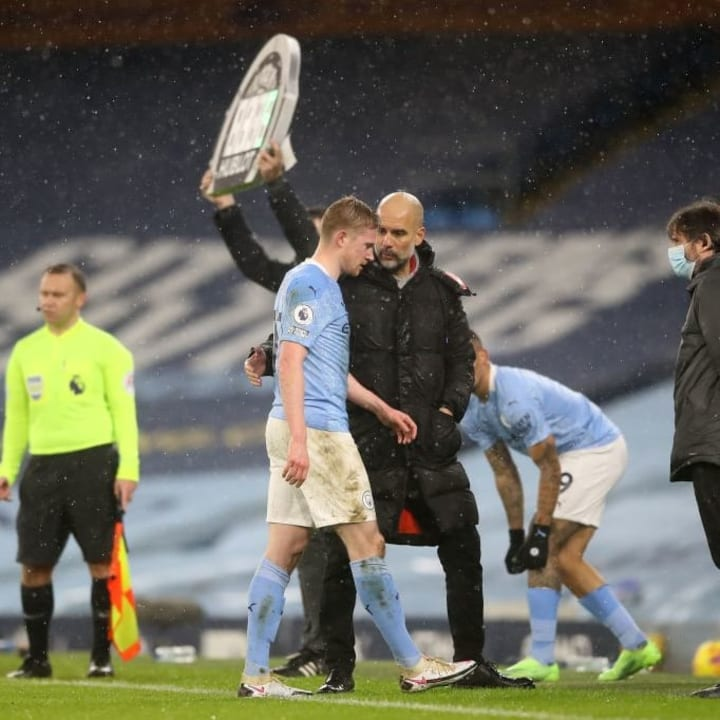 De Bruyne limped off on the hour mark