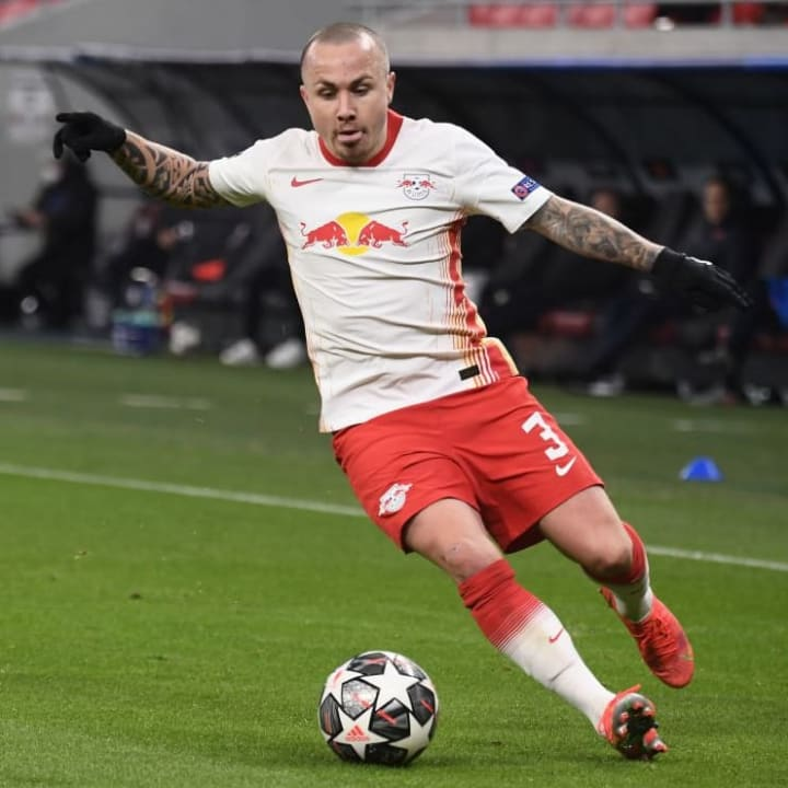 RB Leipzig defender Angelino in action vs Liverpool in the Champions League