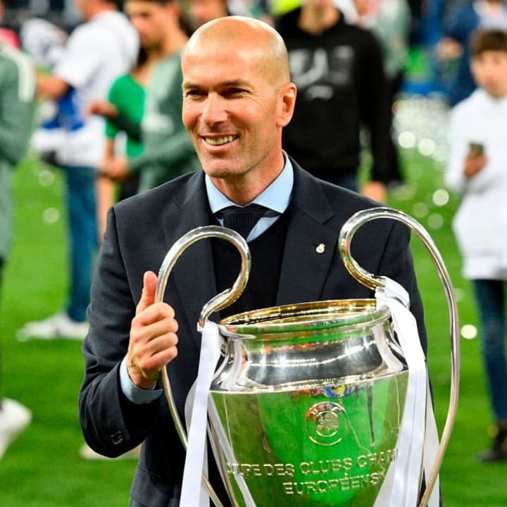 Zidane guided Real Madrid to three Champions League titles