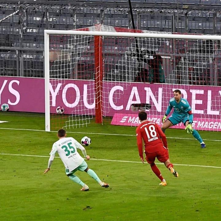 Rein das Ding: Maxi Eggestein mit der Werder-Führung in München