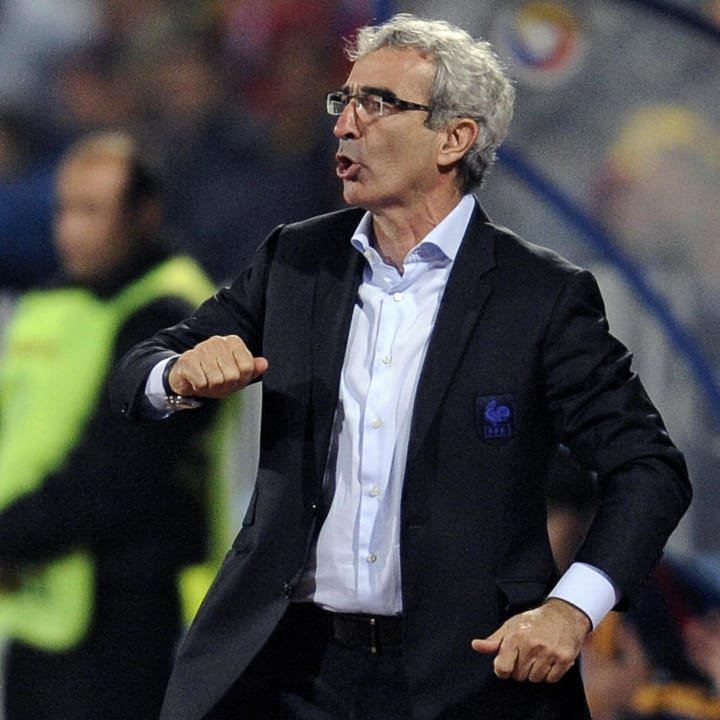 French coach Raymond Domenech reacts dur