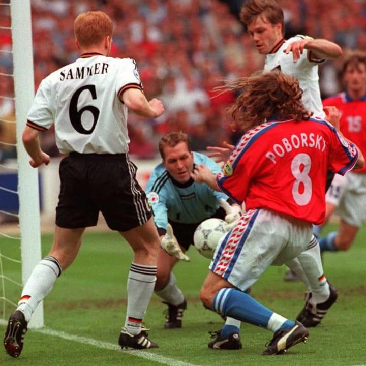 German goalkeeper Andreas Kopke saves a goal attem