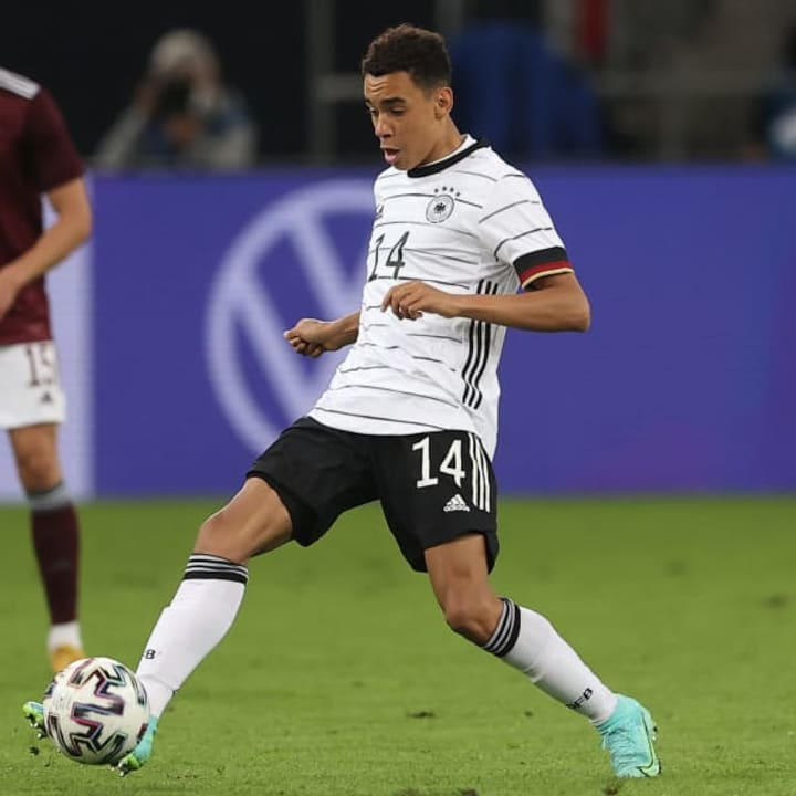 Jamal Musiala in action for Germany