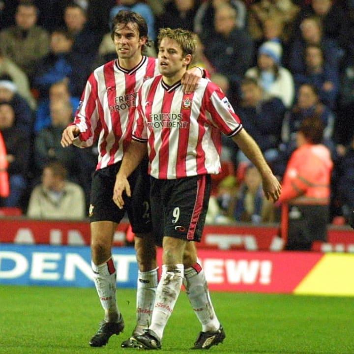 James Beattie of Southampton #9 celebrates his goal with Claus Lundekvam