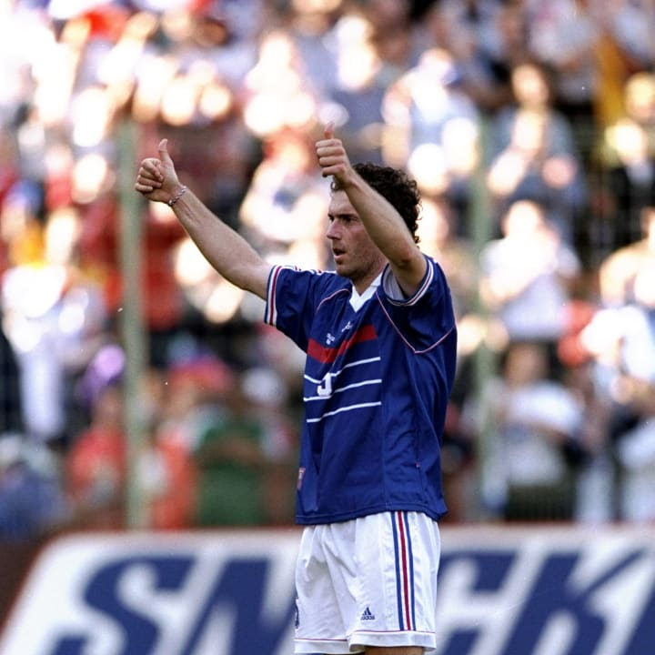 Laurent Blanc of France applauds the crowds after his team win