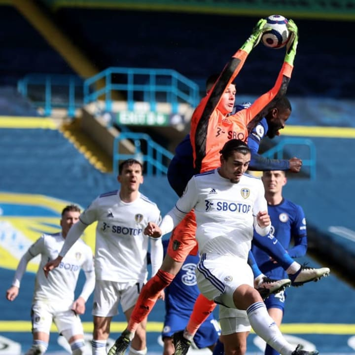 Leeds' Illan Meslier rushes out of his goal to pluck a Chelsea corner out of the air