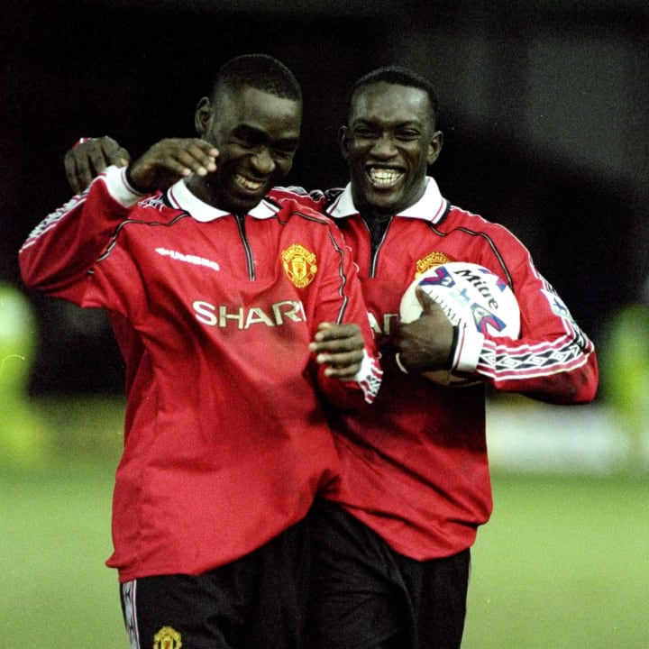 Leicester v Manchester United Andy Cole and Dwight Yorke