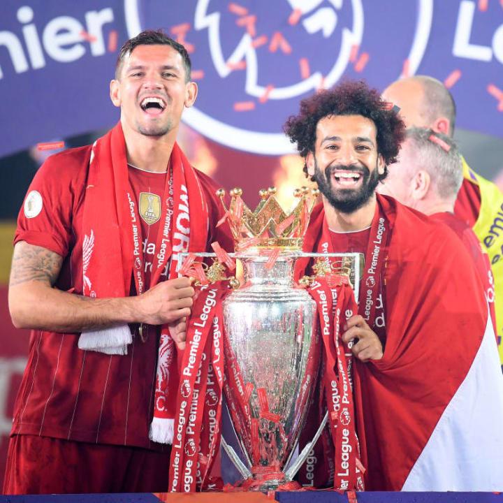 Salah celebrates Liverpool's Premier League win