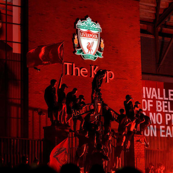 Liverpool fans gathered outside Anfield to celebrate