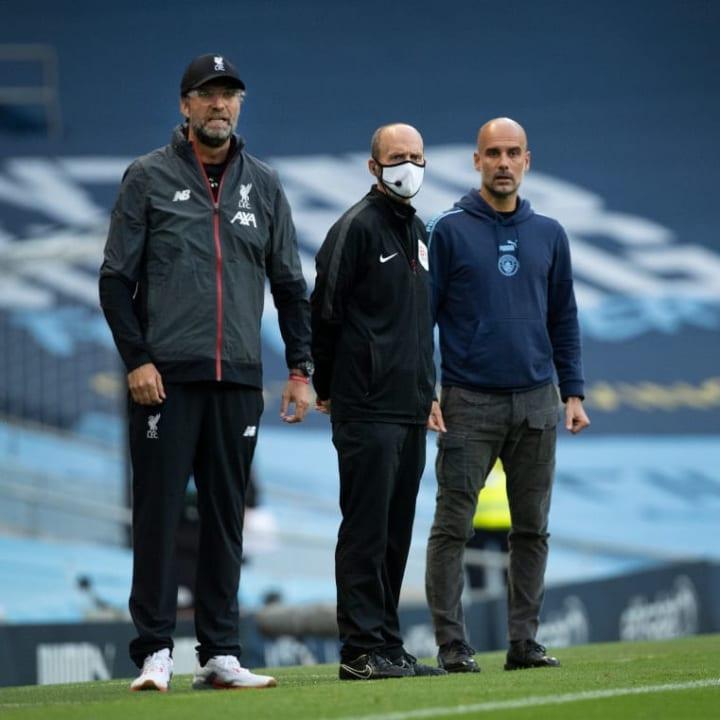 Jürgen Klopp, Mike Dean - Referee, Josep Guardiola