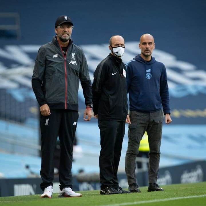 Jürgen Klopp, Mike Dean - Referee, Josep Guardiola