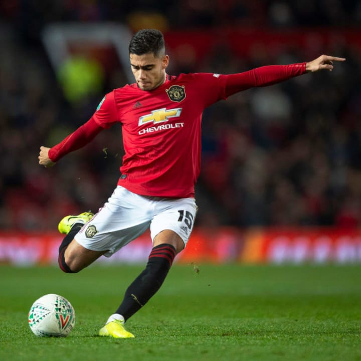 Andreas Pereira hits a free kick against Colchester United in the Carabao Cup