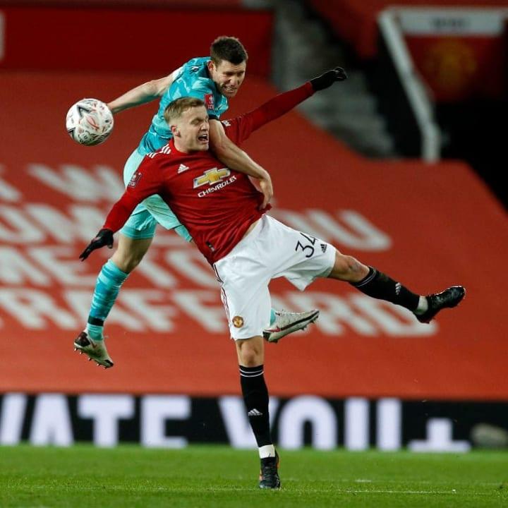 Van de Beek featured against Liverpool in the FA Cup