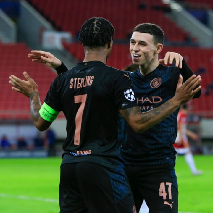 Foden and Sterling linked up for City's goal against Olympiacos on Wednesday