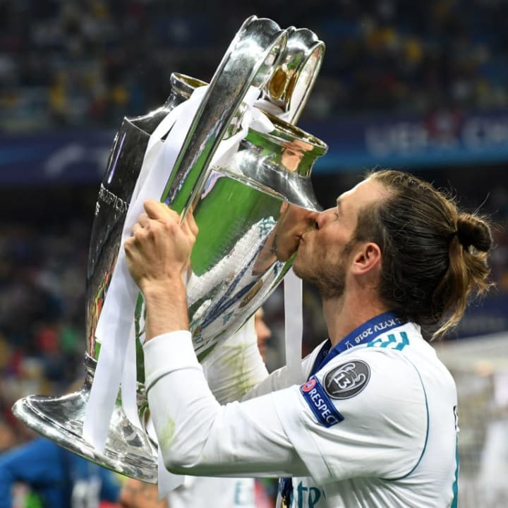 Gareth Bale with the Champions League trophy.