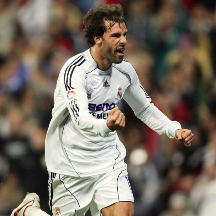 Real Madrid?s Ruud Van Nistelrooy celebr