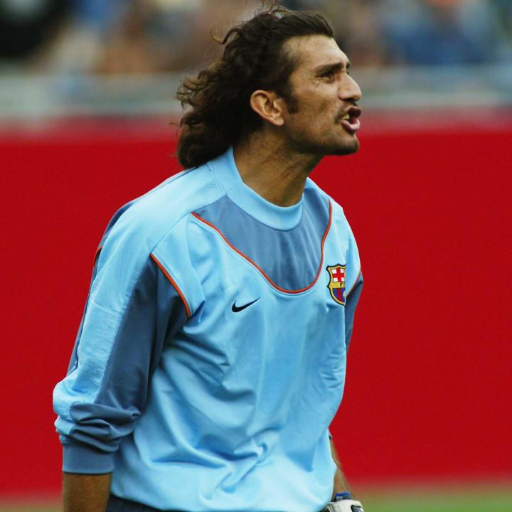 Rustu Recber of Barcelona shouts at a team mate