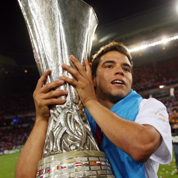 Sevilla's Argentinian forward Javier Sav