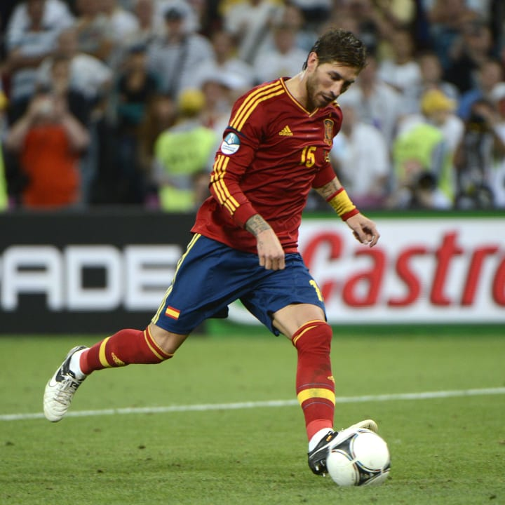 Spanish defender Sergio Ramos kicks a pe