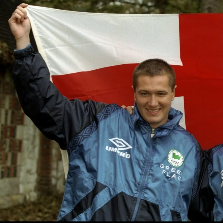 Steve Howey and Peter Beardsley of England