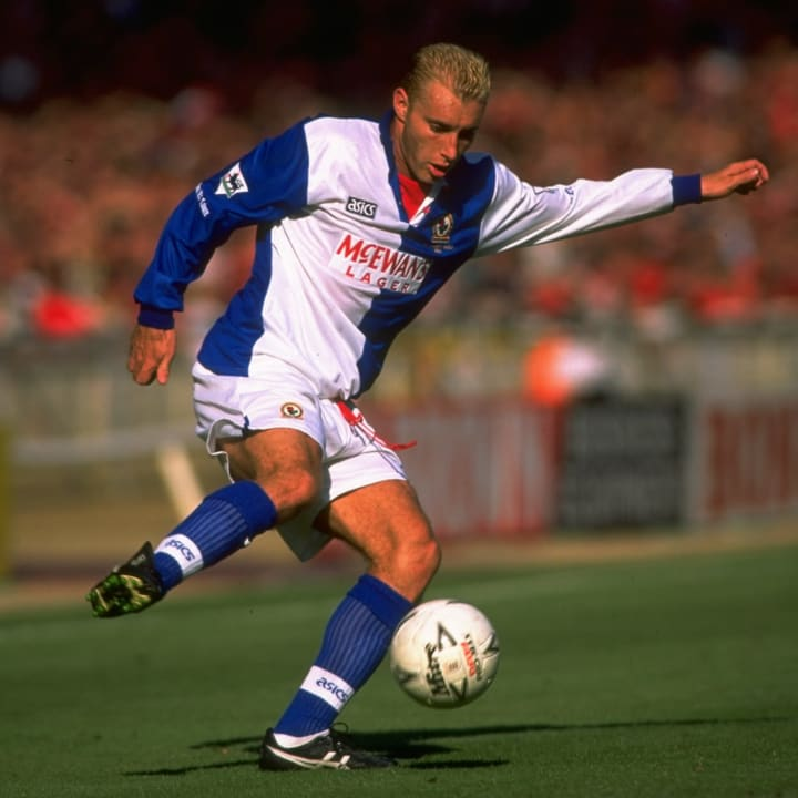 Stuart Ripley of Blackburn Rovers kicks the ball during the Charity Shield match against Manchester