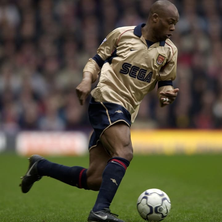 Wiltord donning a classic Arsenal away shirt