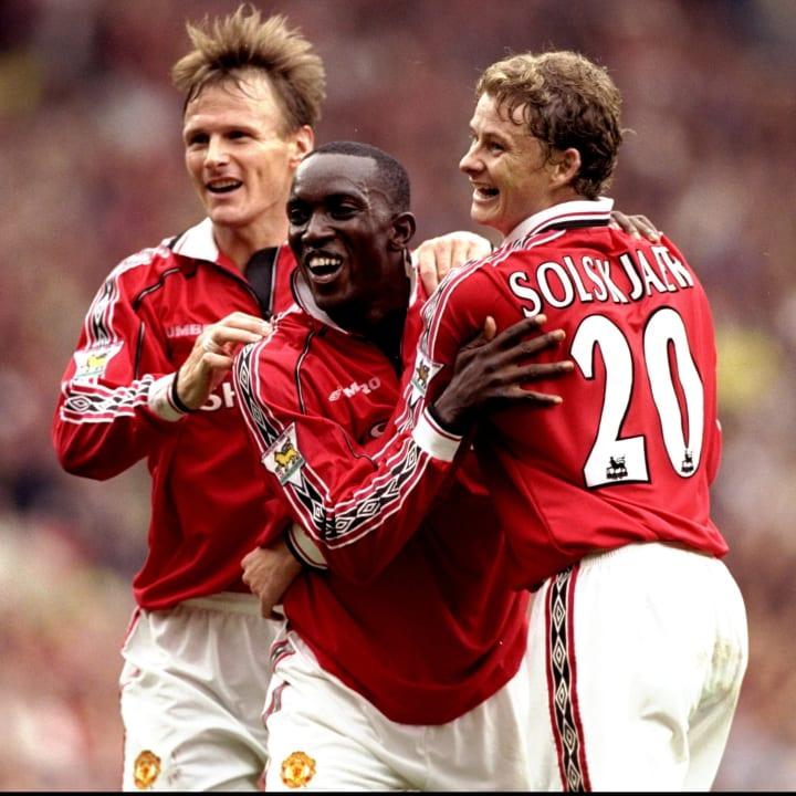 Teddy Sheringham, Dwight Yorke and Ole Gunnar Solskjaer of Manchester United
