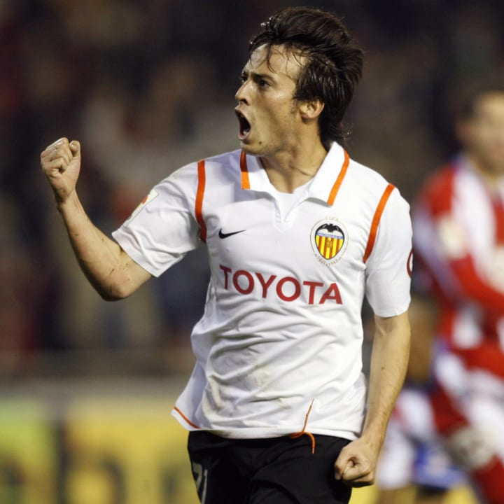 Valencia's David Silva celebrates his go
