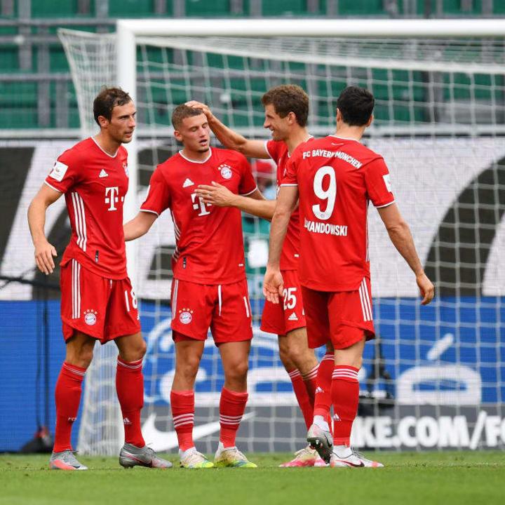 The Bayern team celebrate Cuisance's glorious long-range effort