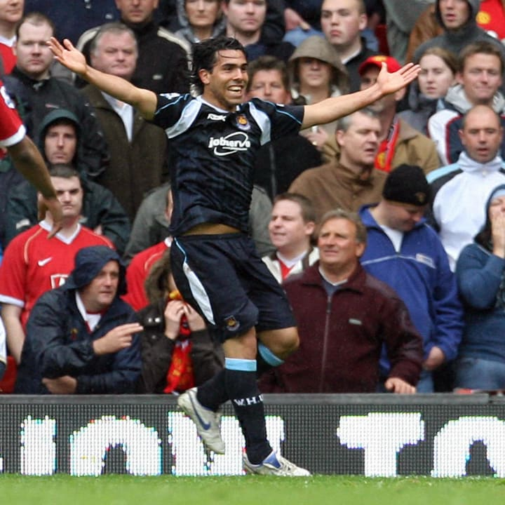 West Ham's Carlos Tevez celebrates after...