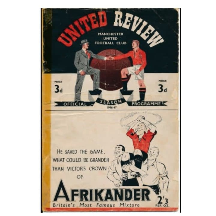The matchday programm from Sir Matt Busby's first league game in charge