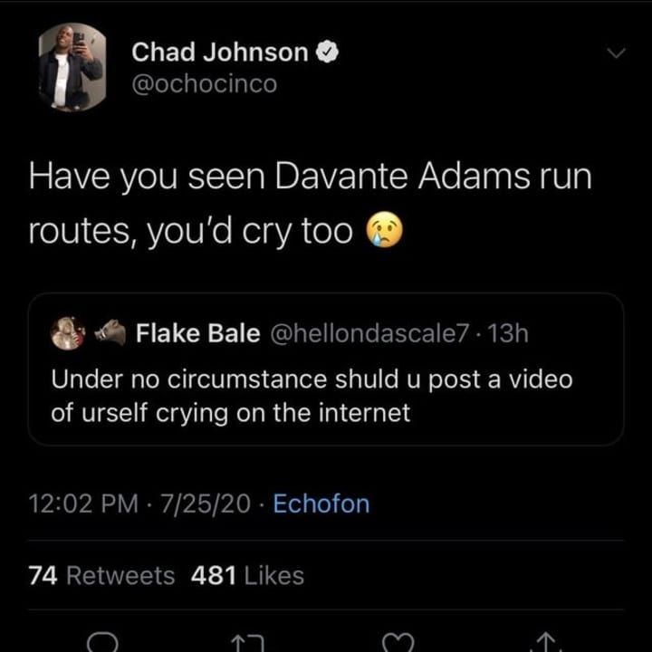 Chad Johnson shows love fr DeVante Adams.
