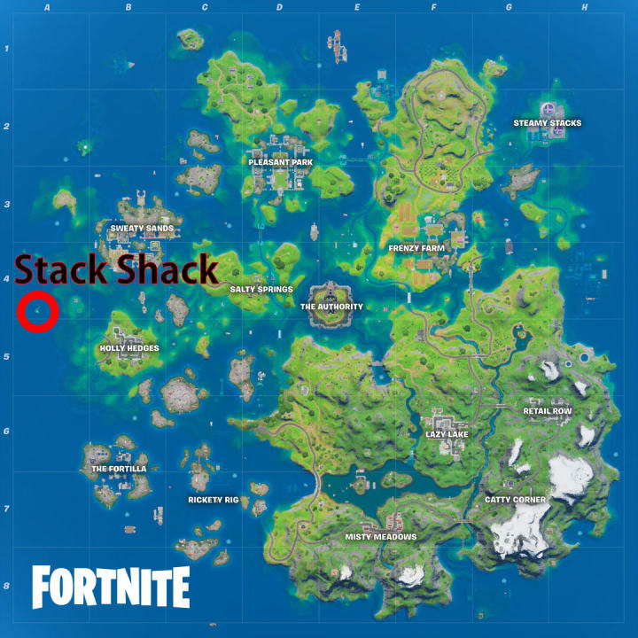 The Stack Shack is on the crescent shaped island on the western most edge of the map.
